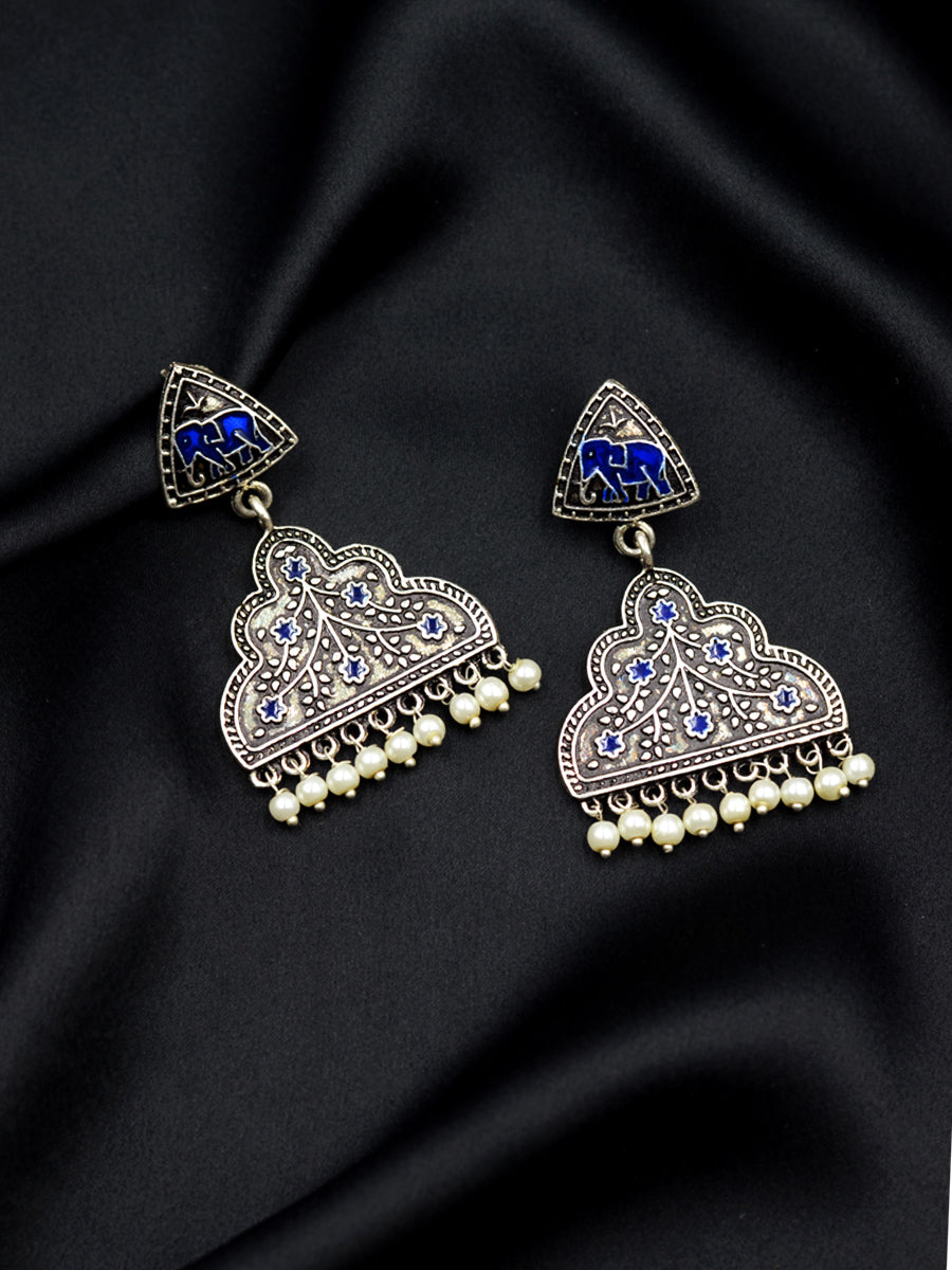 Sanjh Silver Pearl Earrings