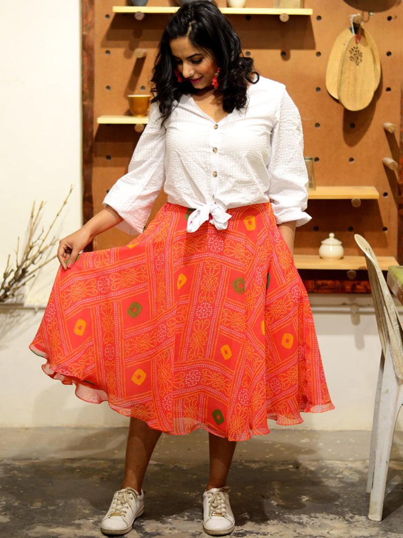 Akira Bandhej Skirt, a hand embroidered designer skirt from our latest collection of handmade skirts for women online.
