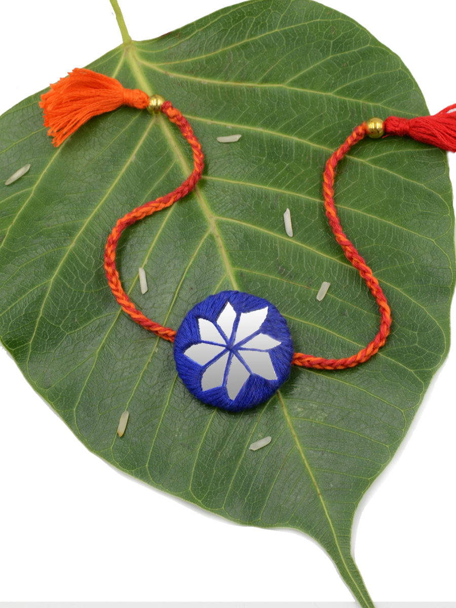 Bandhan Hand-Embroidered Rakhi (Blue)