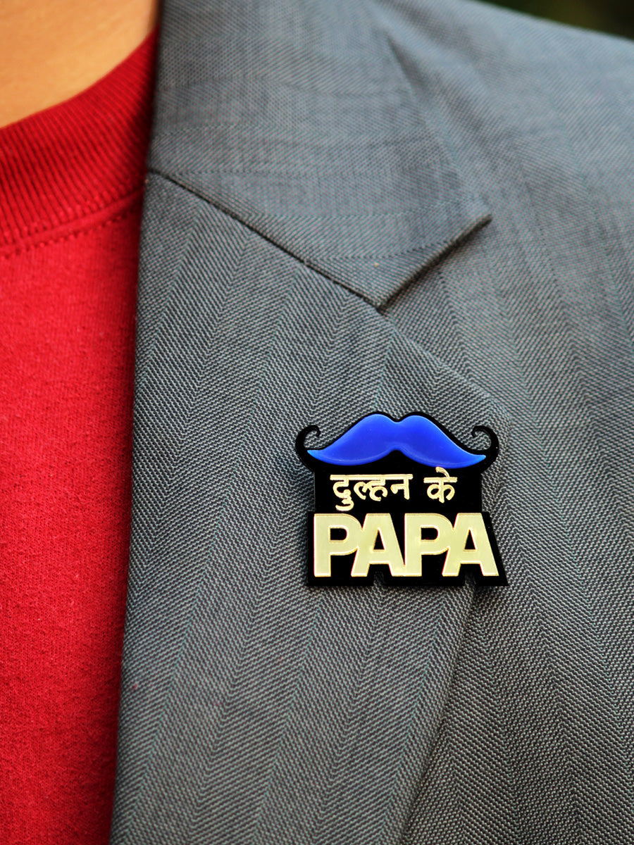 Dulhan Ke Papa Brooch, a handmade statement brooch from our wide range of quirky wedding collection for men.