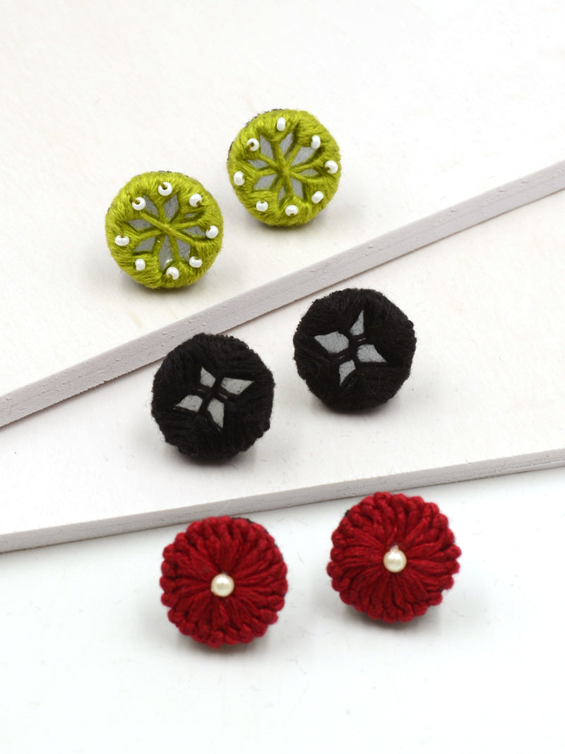 Arya Embroidered Stud Earrings Set 6