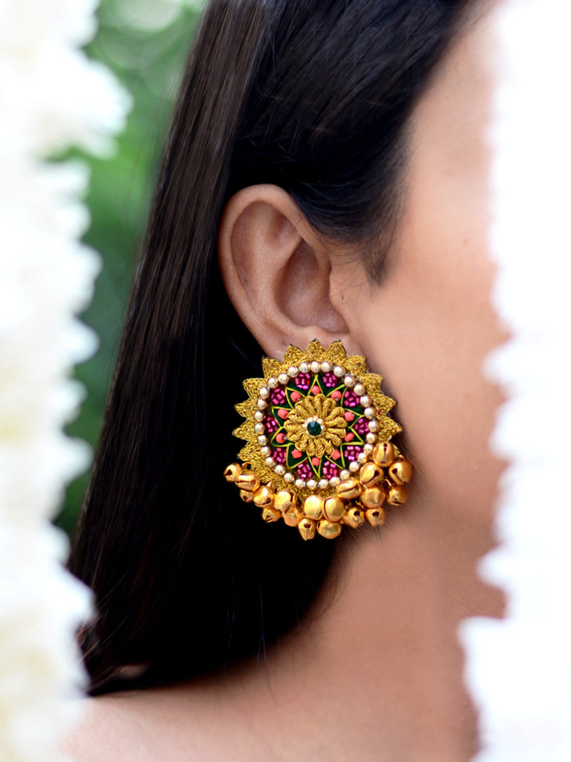 Waheeda Zari Ghungroo Earrings, a beautiful hand embroidered earring with ghungroos from our quirky collection of designer earrings for women online.