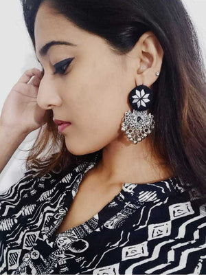 Rihana Hand-embroidered Mirror Earrings, an embroidered mirror earring from our quirky designer collection of earrings for women online.
