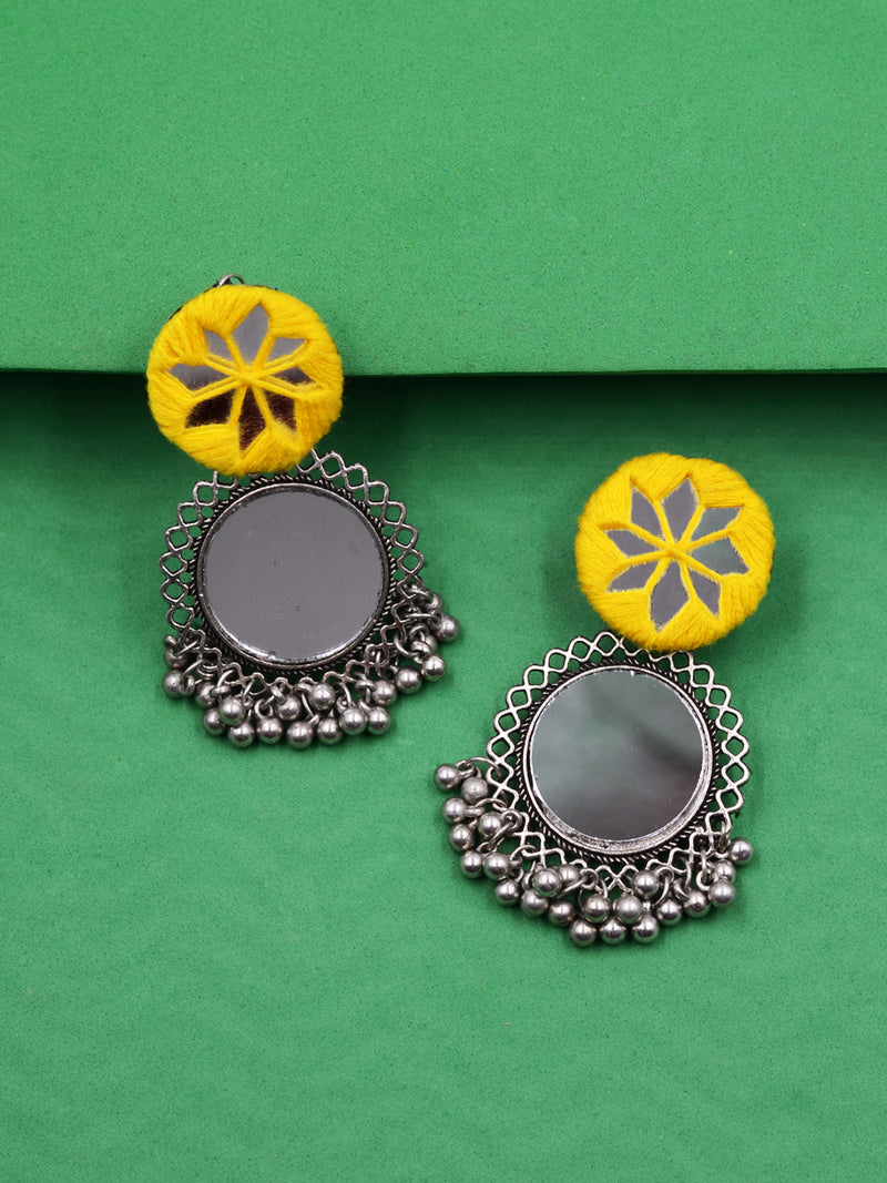 Sophia Hand-embroidered Mirror Earrings