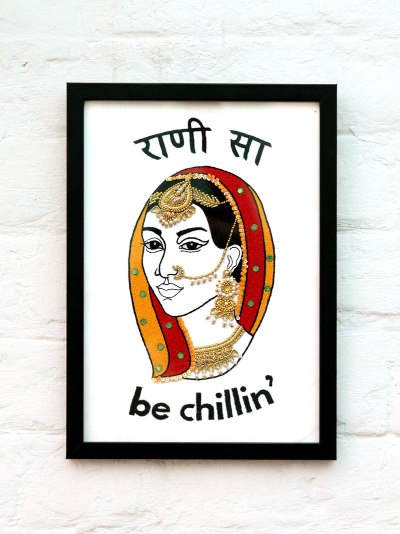 Rani Sa Embroidered Wall Art, a unique handcrafted wall decor with beads, mirrors and stones from our wide range of quirky, bohemian home decor products like wall hangings, wall art, thread art and more.