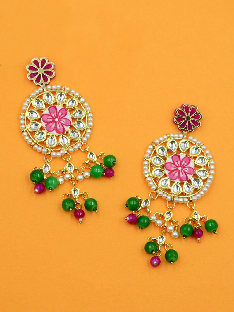 Gulbahar Floral Kundan Earrings, a hand embroidered kundan earring from our designer collection of kundan, gota patti and tassel earrings for women.