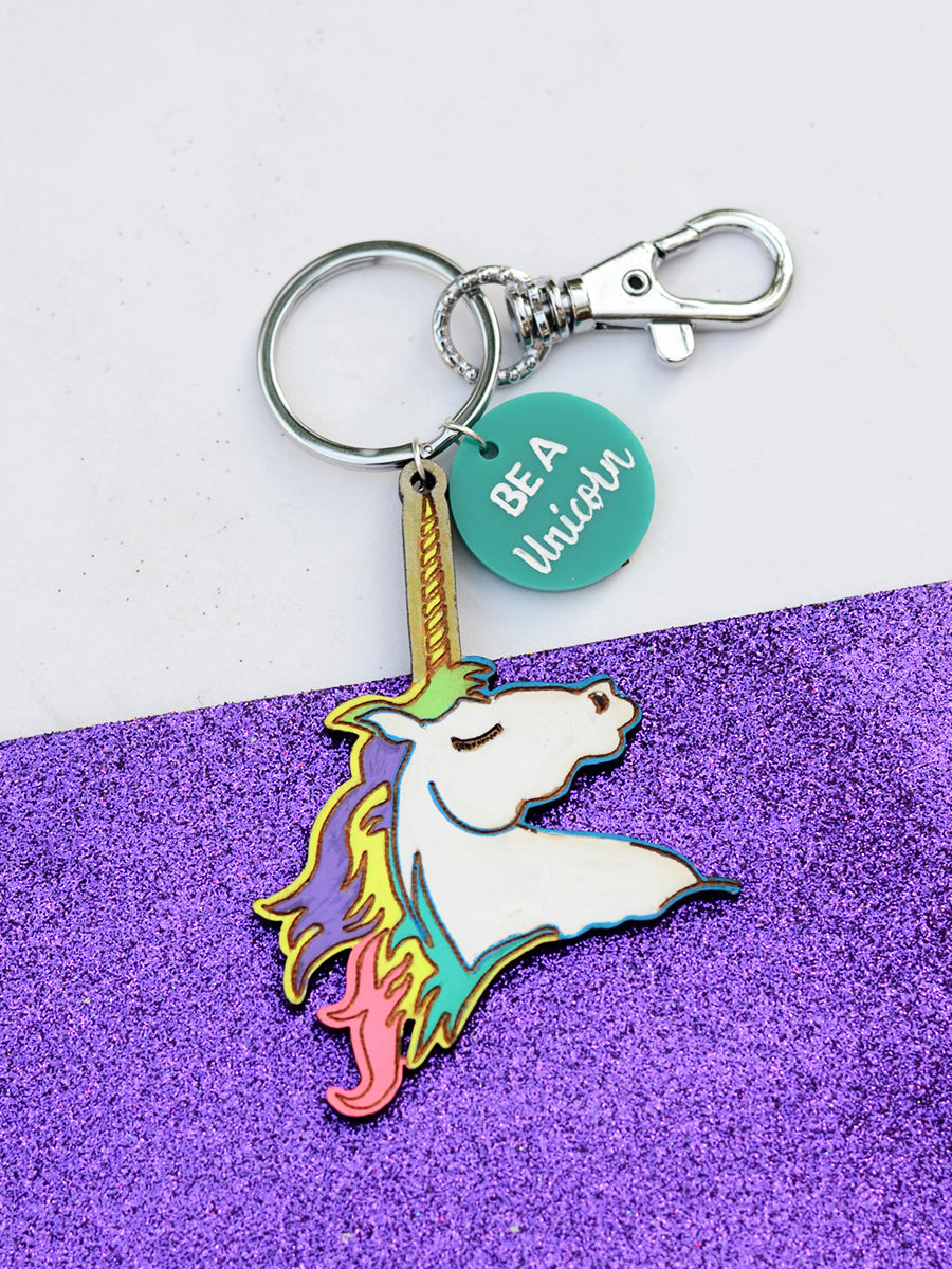 Be a UNICORN Keychain Bagcharm, a unique handcrafted keychain bag charm from our designer collection of hand embroidered statement keychain and bag charms.