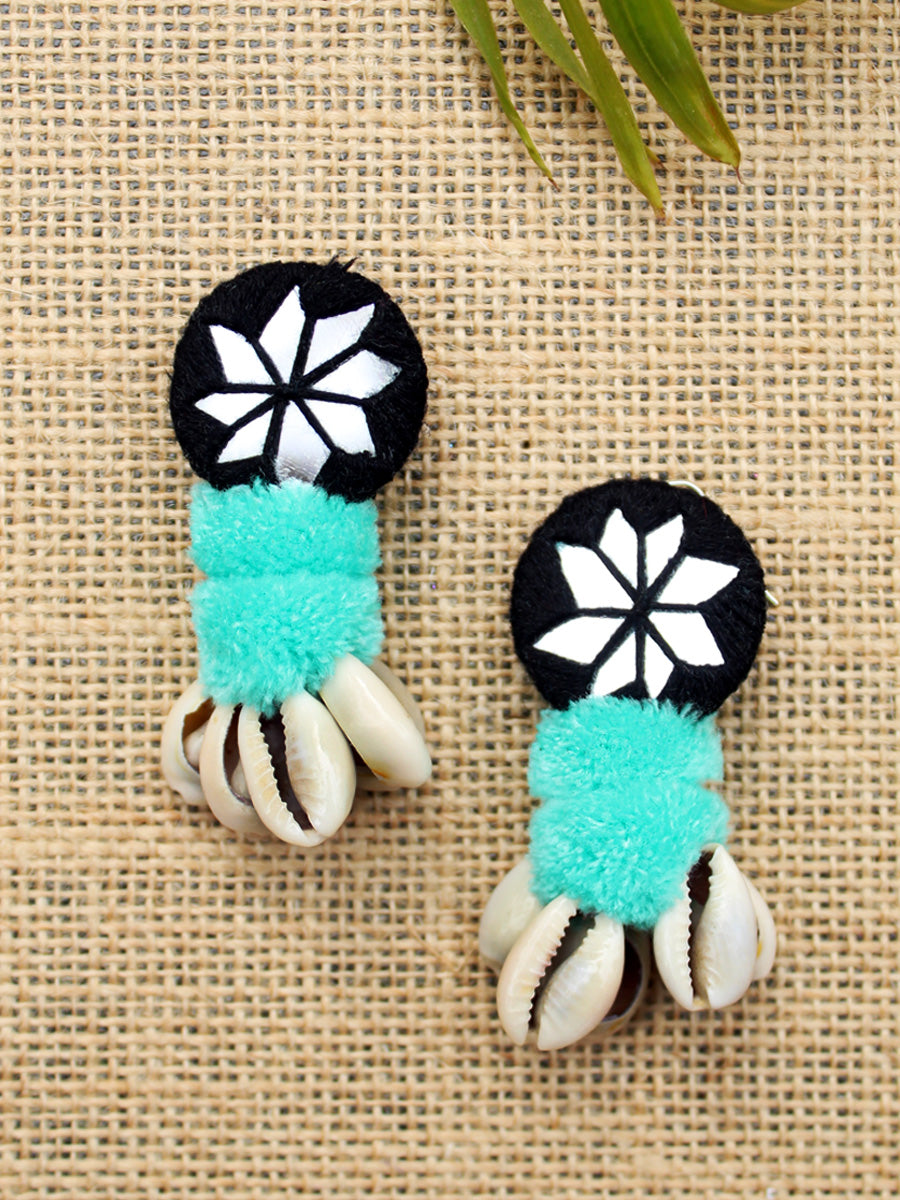 Zoya Pom-pom Shell Earrings, a chic hand embroidered shell earrings with mirror and pom pom detailing from our quirky designer collection of earrings for women online.