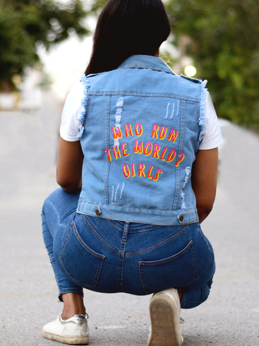 Who Run the World Sasswati Denim Jacket, a hand embroidered blue denim jacket from our latest designer collection of boho denim jackets for women online.