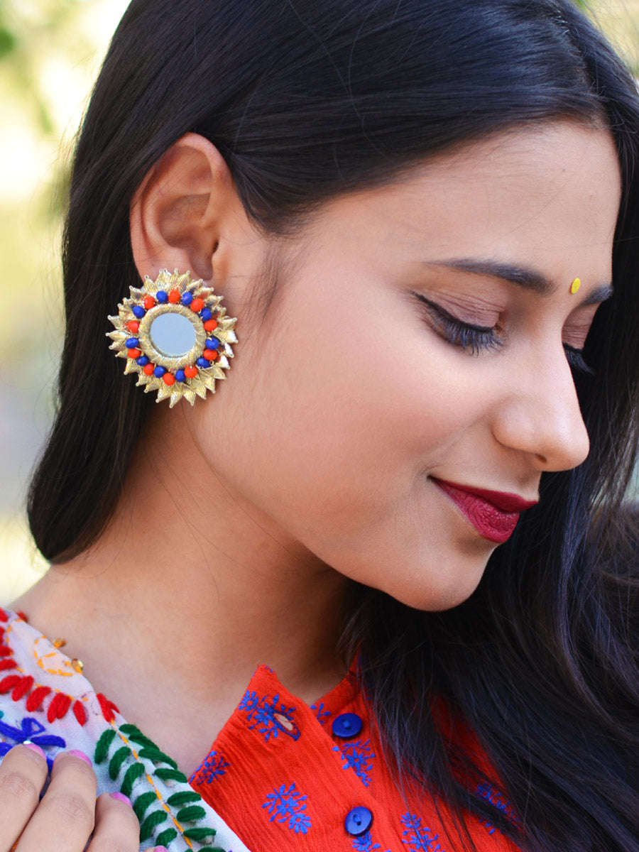 Gota Beauty Stud Earrings, an embroidered gota patti earring with beads and mirrors from our designer collection of earrings for women.