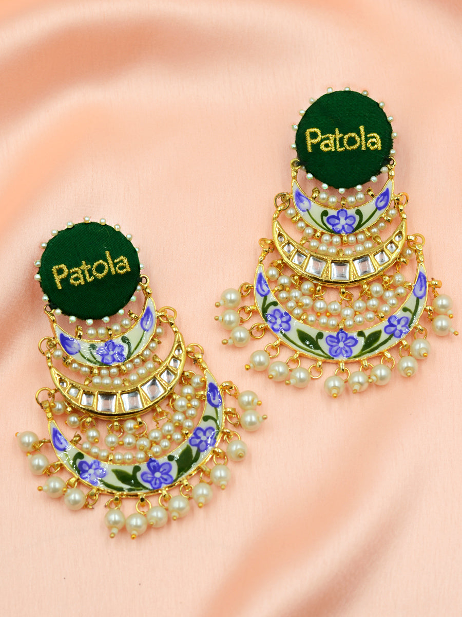 Patola Embroidered Kundan Earrings
