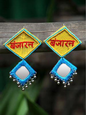 Beautiful Banjaran Mirror Earrings, an embroidered mirror earring with banjara embroidery from our quirky designer collection of earrings for women online.