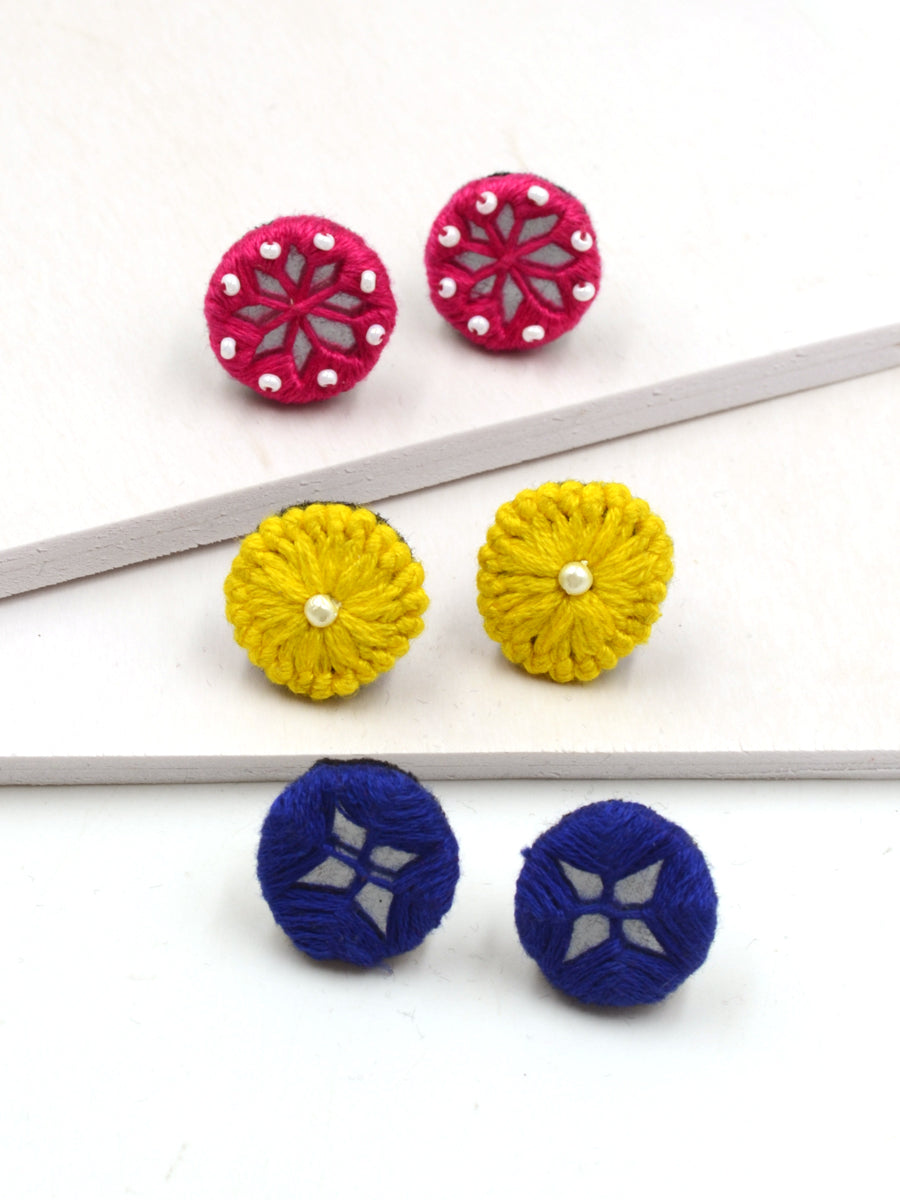 Arya Embroidered Stud Earrings Set 7