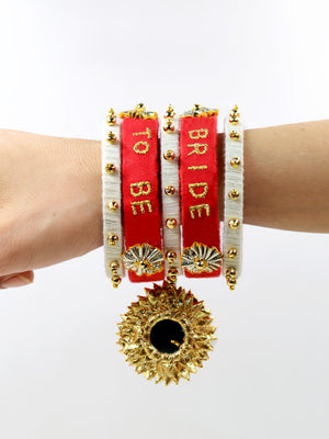 Bride to be Embroidered Bangles, a quirky, handcrafted statement bangle from our collection of hand embroidered wedding themed bangles online for women.