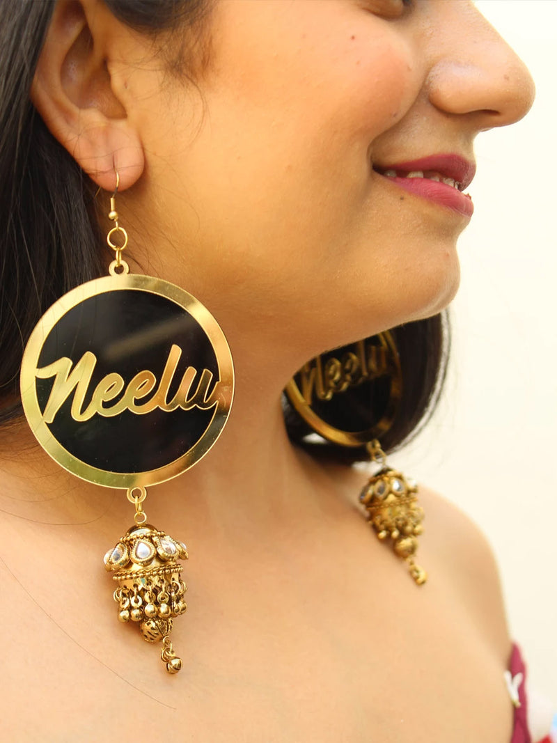Customised Earrings (with Jhumki), completely customisable and personalised statement hand embroidered earrings from our latest wedding collection of statement and handmade earrings and jhumkas for women.