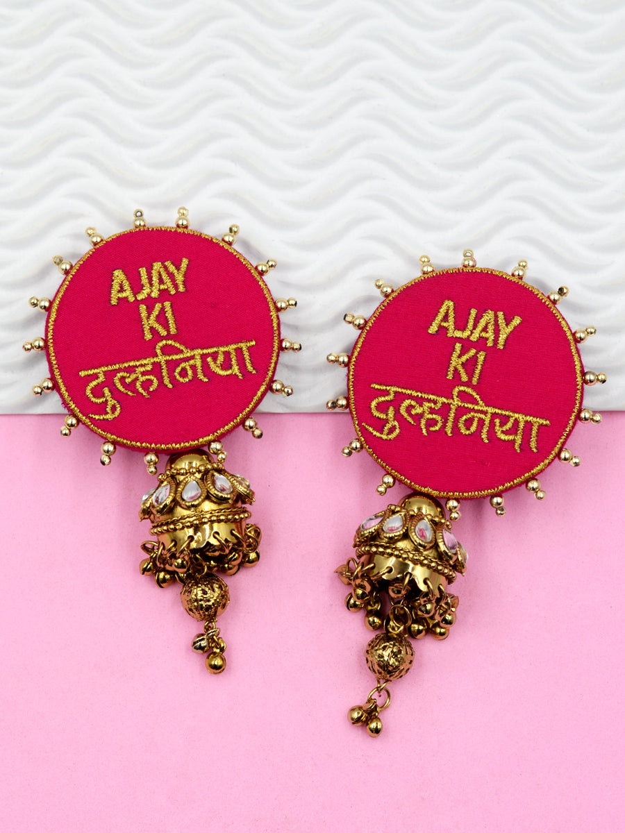 Customised Earrings (Kudi Pataka Embroidered Style)