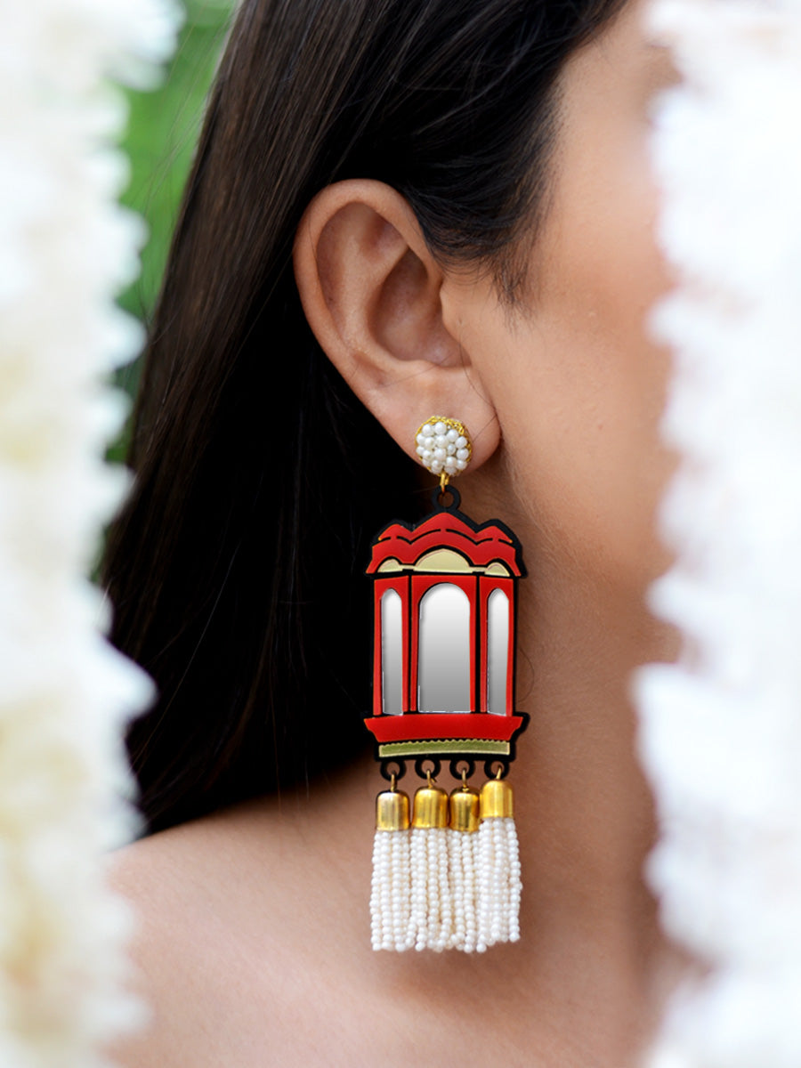 Hawa Mahal Pearl Earrings, a contemporary handcrafted earring from our wedding collection of Kundan, gota patti, pearl earrings for women online.