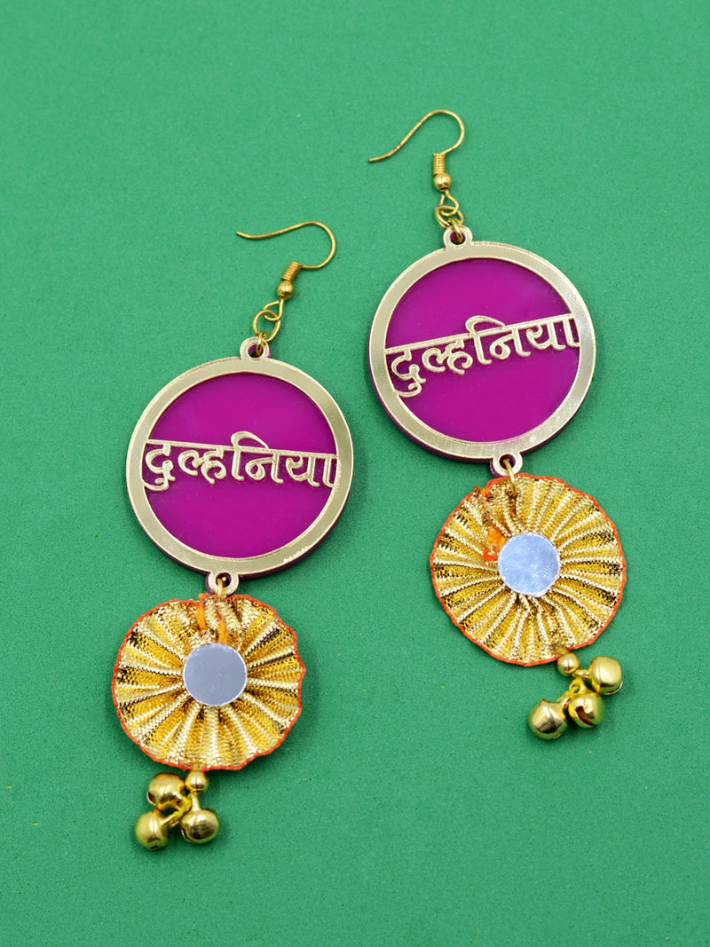 Dulhania Mirror Gota Ghungroo Earrings