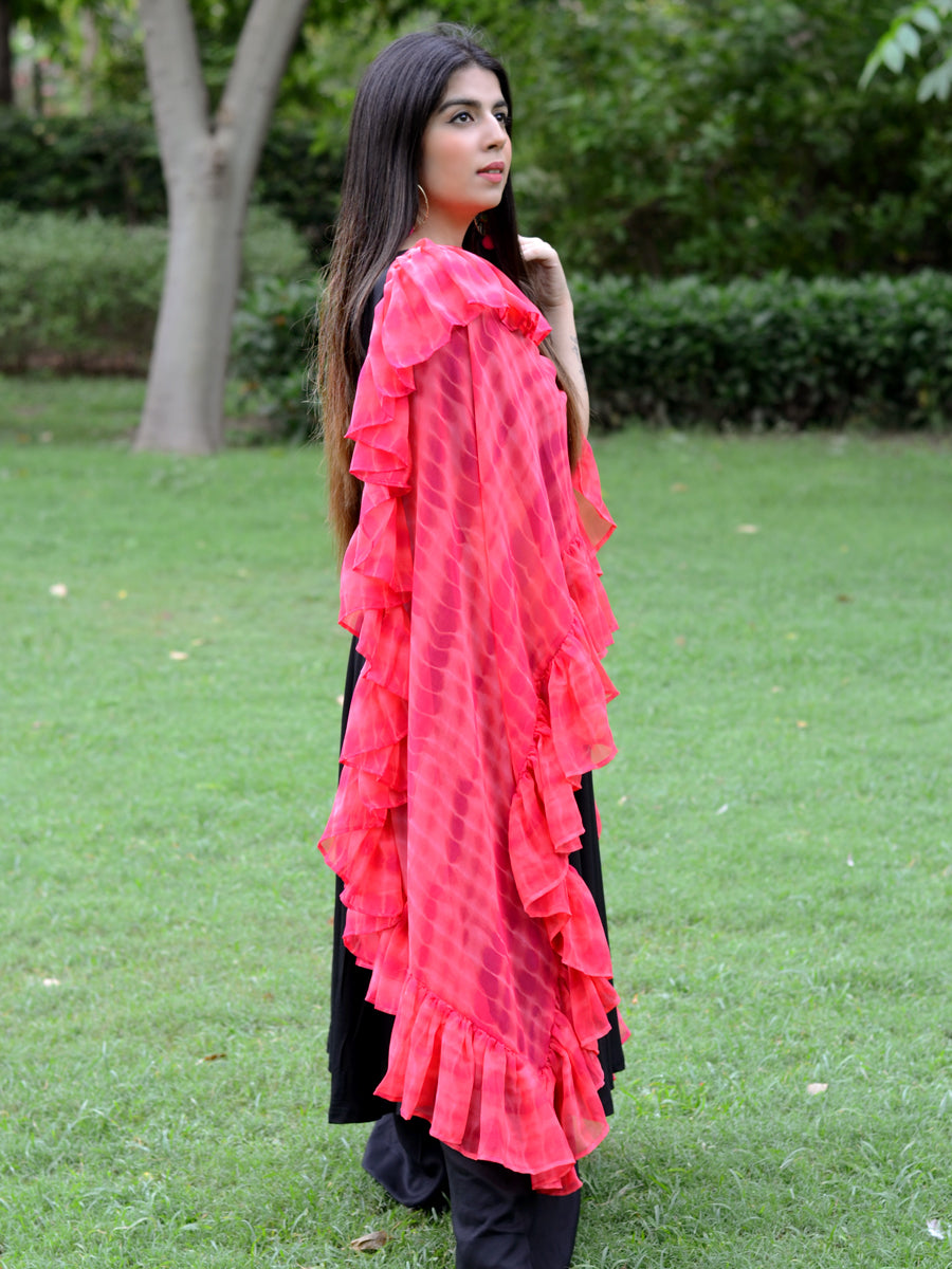 Ruffle Dupatta (Pink), a hand embroidered, statement dupatta from our designer collection of dupattas and clothing for women.