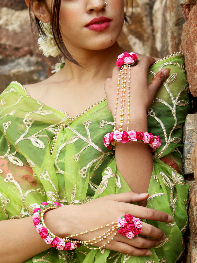 Nagma Floral Gota Hathphool, a unique designer, floral, handcrafted bangle from our latest wedding collection of kundan, gota, zari and pearl bangles for women.