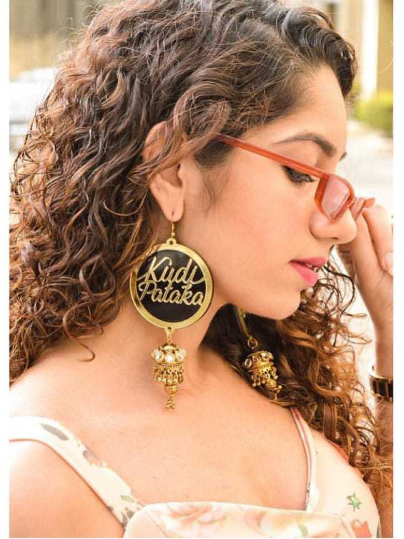 Kudi Pataka Earrings, a quirky, unique, statement party-wear earrings from our designer collection of hand embroidered earrings for women.