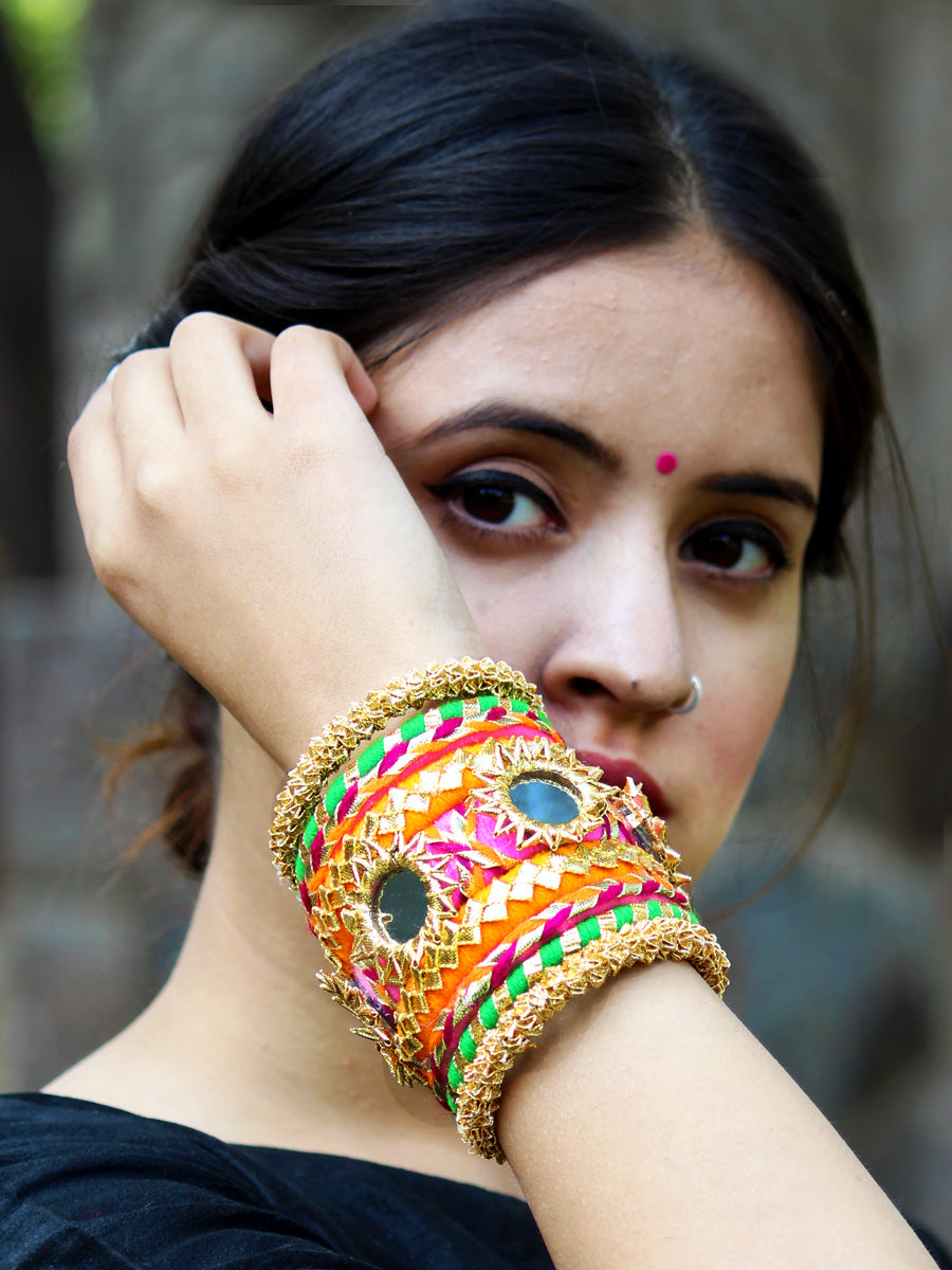 Nargis Gota Bangles (Orange-Green), a unique designer, handcrafted bangle from our latest wedding collection of hand embroidered, kundan, gota, zari and pearl bangles for women online.