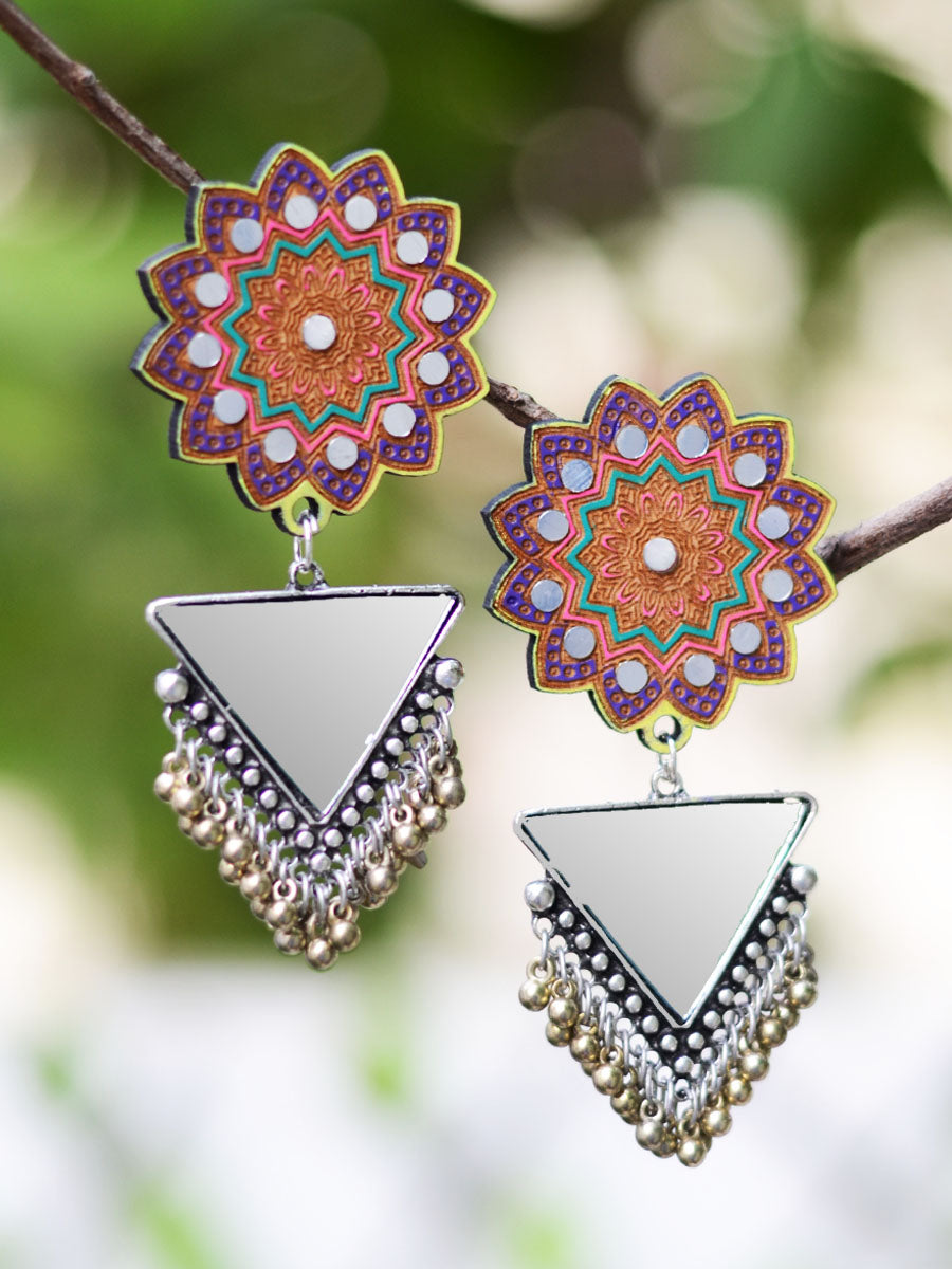 Zubaida Earrings, a handpainted wooden earring with triangular mirrors from our designer collection of quirky boho earrings for women online.