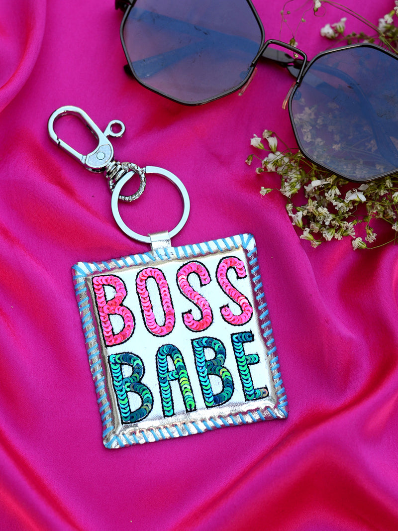 Boss Babe Keychain Bagcharm, a unique handcrafted keychain bag charm from our designer collection of hand embroidered statement keychain and bag charms online.