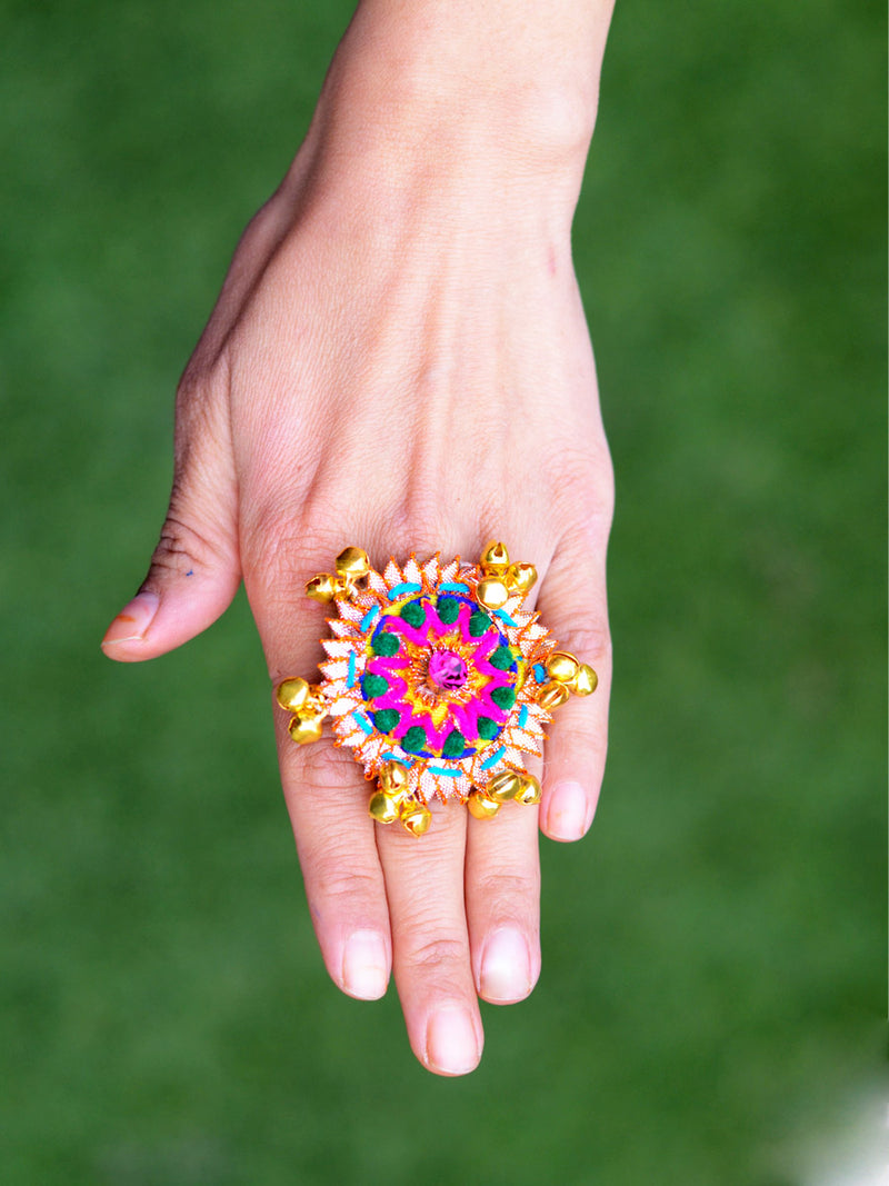 Wedding Bells Ring (Pink), a handcrafted ghungroo gota ring from our latest designer collection for girls & women.