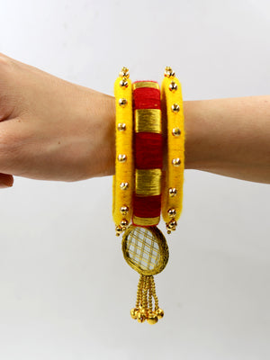 Zari Mirror Ghungroo Bangles (Set of 3), a set of beautiful handmade zari bangles with bead and ghungroo detailing from our latest designer collection of wedding themed bangles for women.
