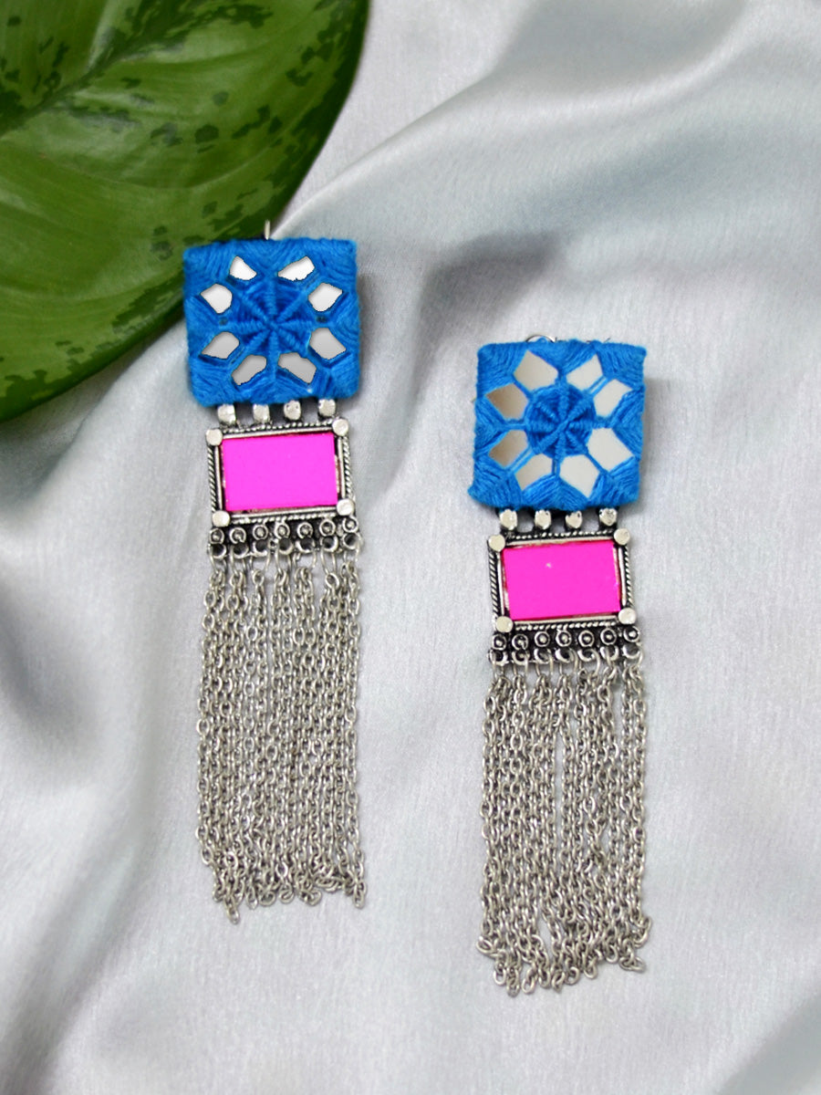 Nazia Hand-embroidered Mirror Earrings, an embroidered mirror earring with silver motif from our quirky designer collection of earrings for women online.