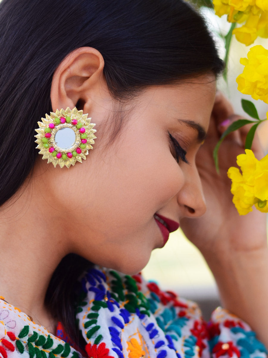 Gota Beauty Stud Earrings, an embroidered gota patti work earring with beads and mirrors from our quirky designer collection of earrings for women online.