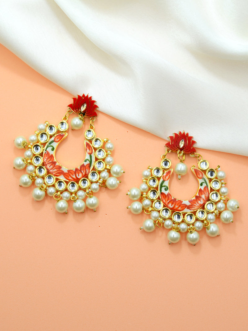 Zeenat Lotus Kundan Earrings, a contemporary handcrafted earring from our wedding collection of Kundan, gota patti, pearl earrings for women online.