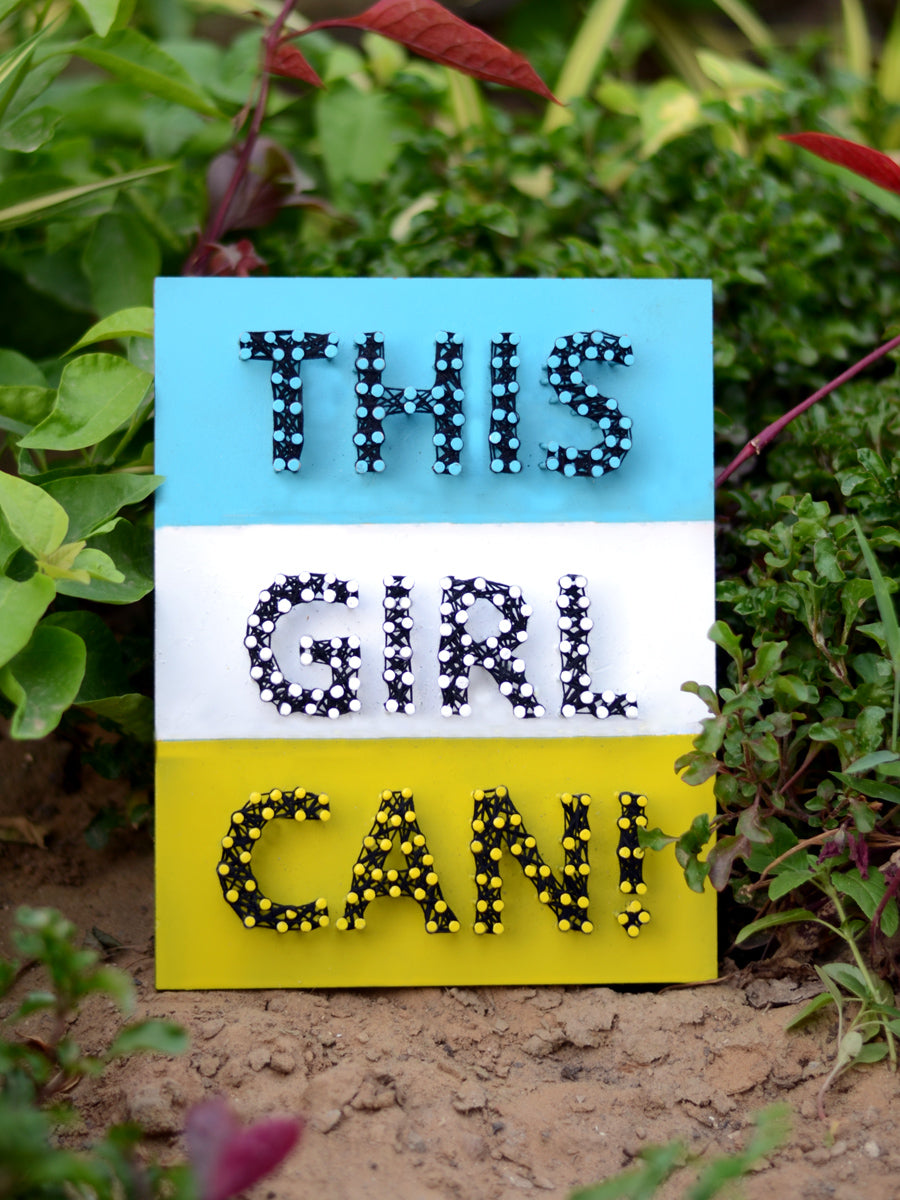 This Girl Can Thread Art, a unique handcrafted thread art from our wide range of quirky, bohemian home decor products like cushion covers, wall decor & wall art, wooden coasters, keychain holders and more.