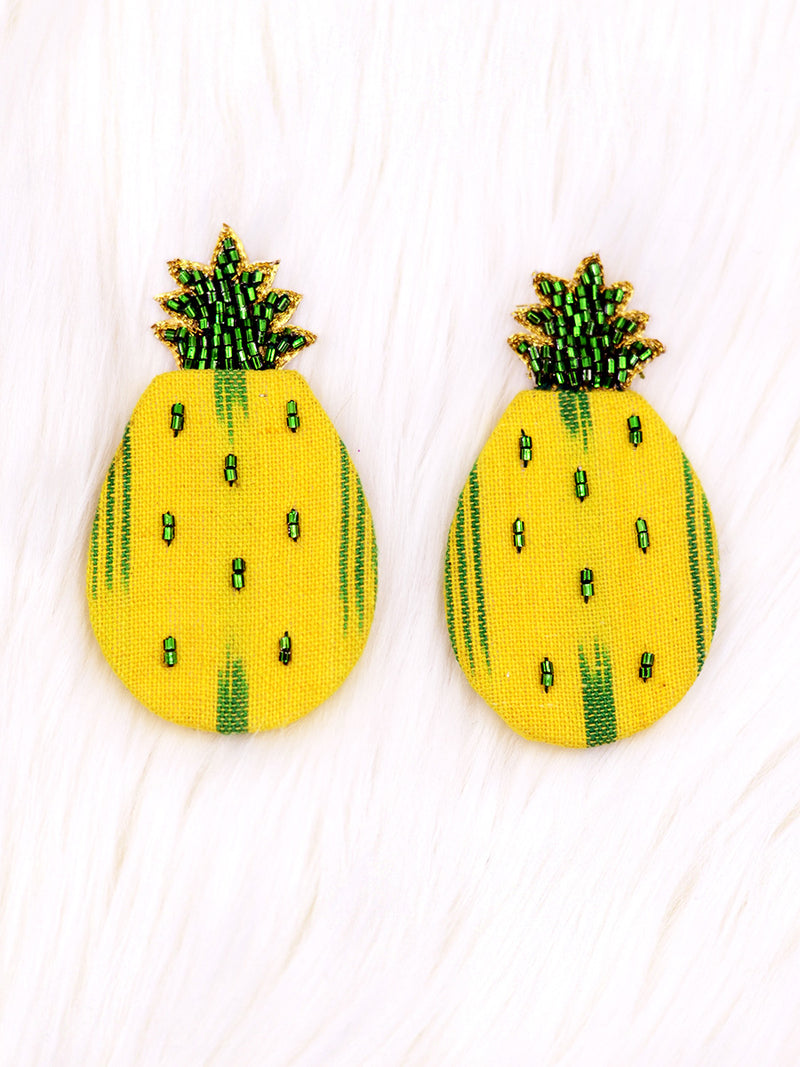 Ananas Ikat Earrings, a beautifully hand-embroidered earring from our designer collection of quirky, boho, Kundan and tassel earrings for women.