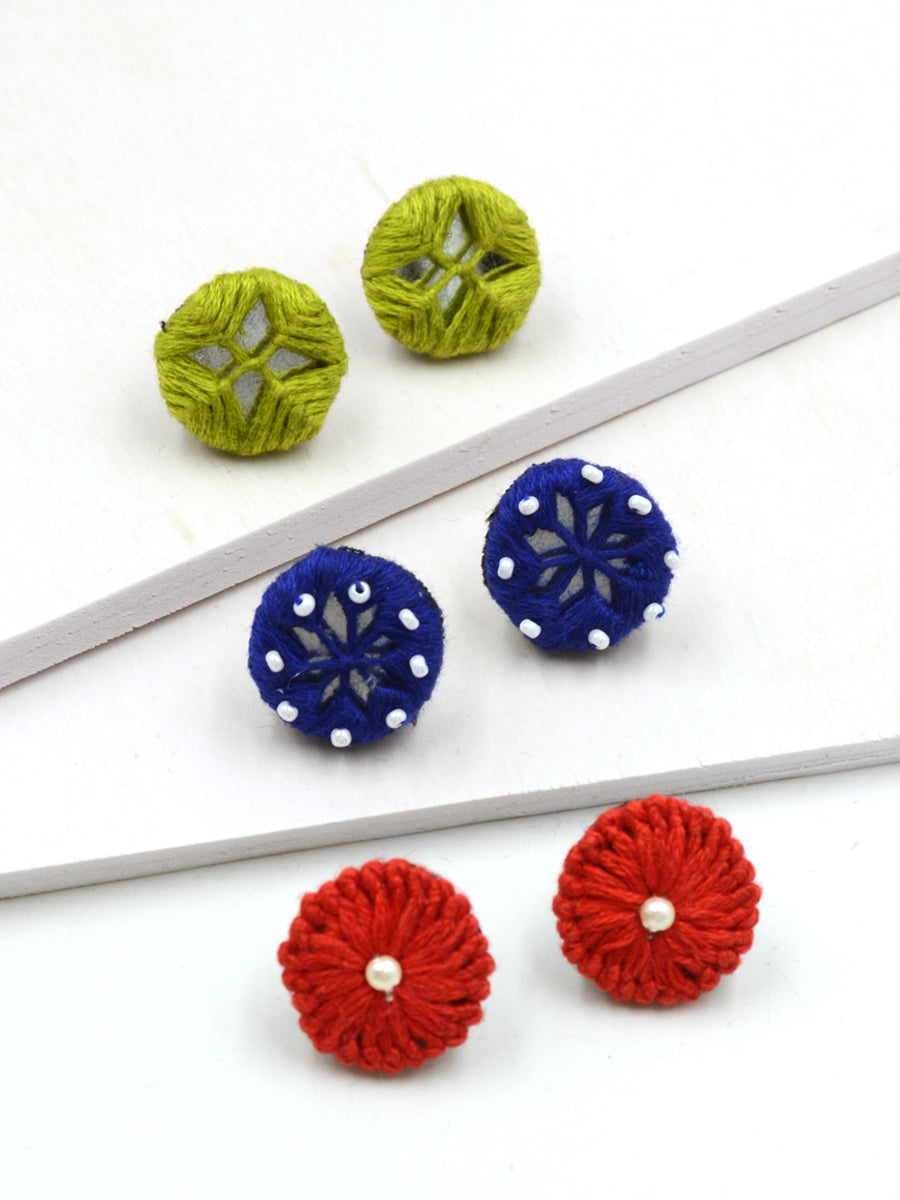 Arya Embroidered Stud Earrings Set 8