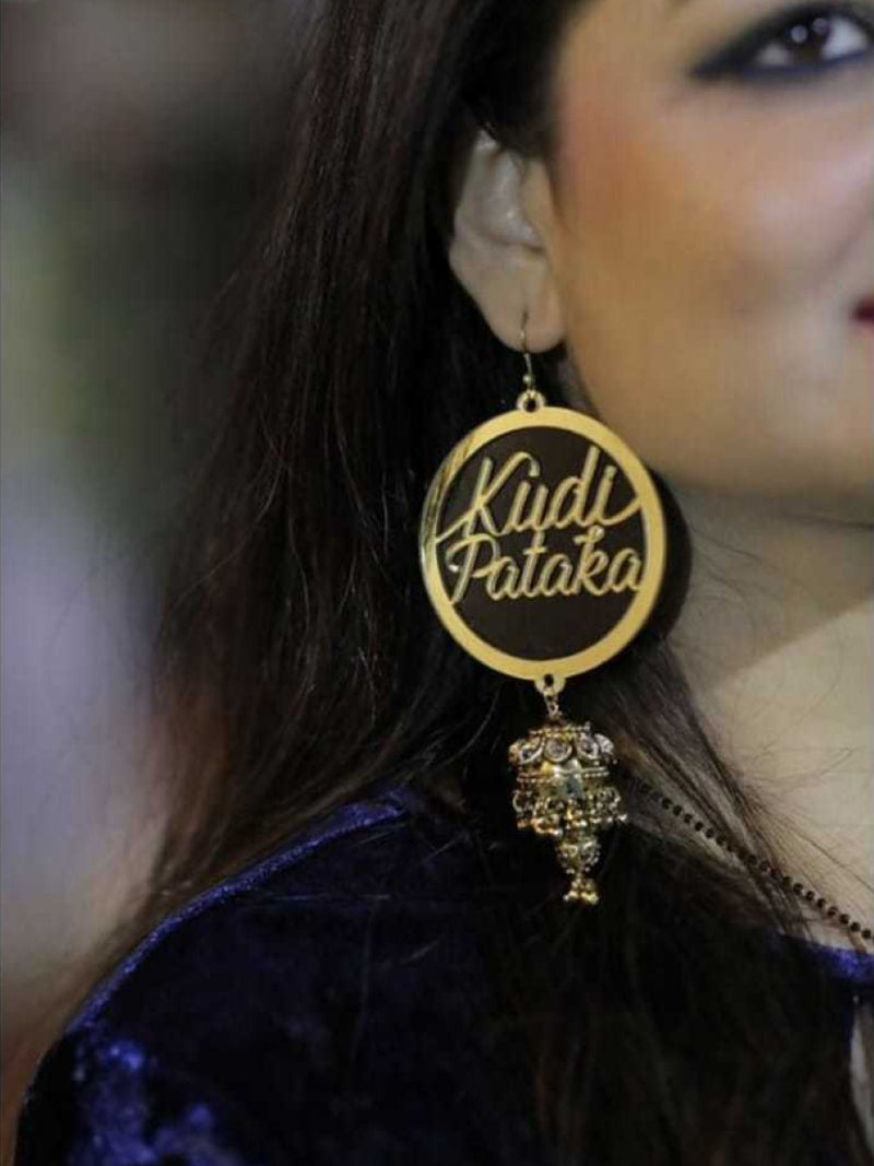 Kudi Pataka Earrings, a quirky, unique, statement party-wear earrings from our designer collection of wedding themed earrings for women online.