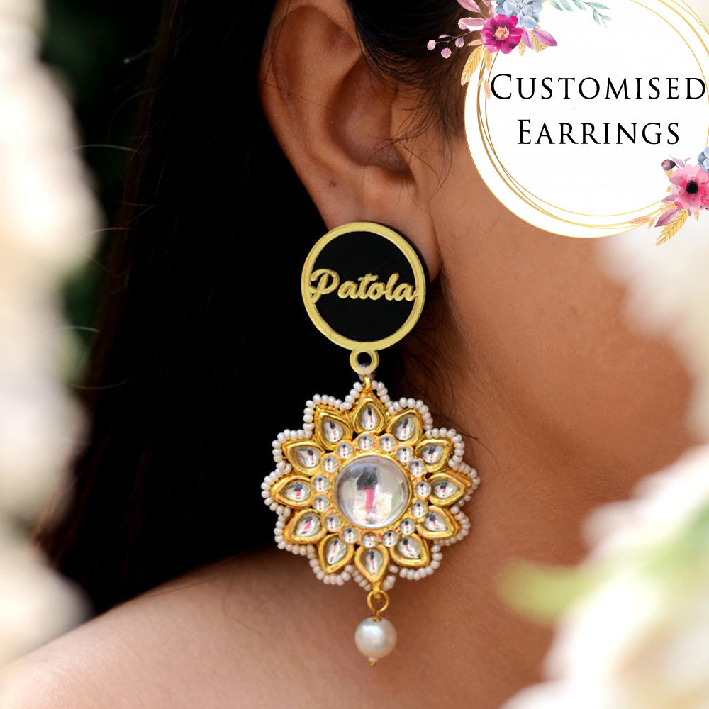 Customised Earrings (Patola Kundan Style), completely customisable and personalised statement hand embroidered earrings from our latest wedding collection of statement and Kundan earrings for women online.