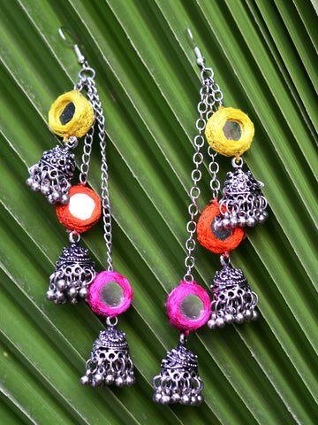 Flower Power Maang Teeka (Orange-Yellow)