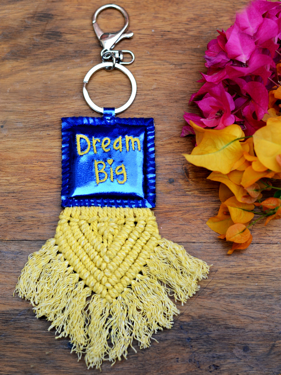 Dream Big Keychain Bagcharm, a unique handcrafted keychain bag charm from our designer collection of hand embroidered keychain and bag charms online.