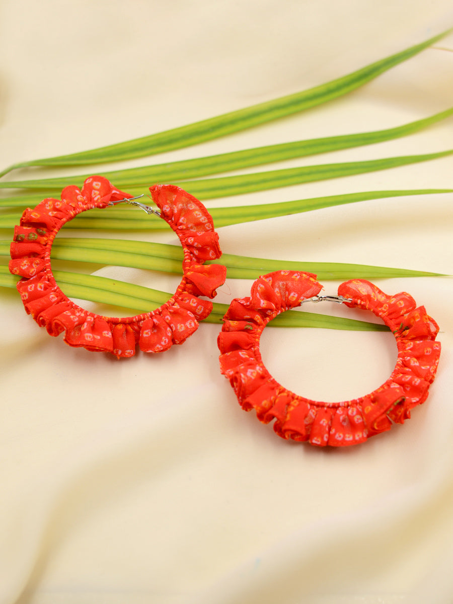 Bandhej Ruffle Hoops, a gorgeous Indian bohemian ethnic hoops earring from our designer collection of hoops earrings for women online.