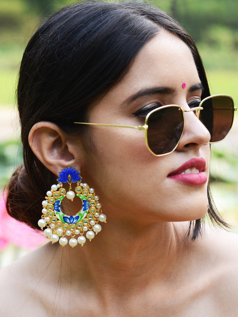 Zeenat Lotus Kundan Earrings, a contemporary handcrafted earring from our wedding collection of Kundan, gota patti, pearl earrings for women.