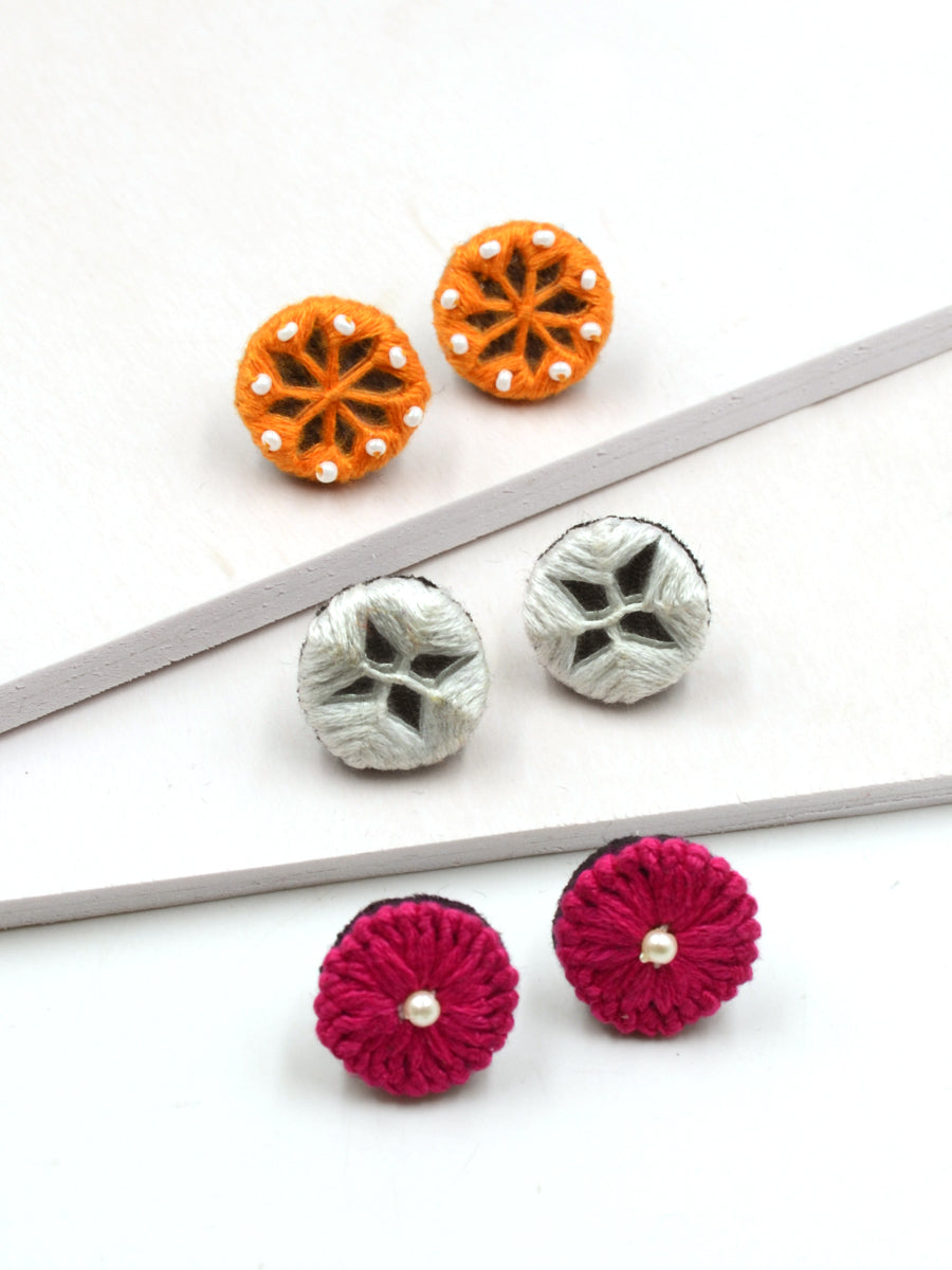 Arya Embroidered Stud Earrings Set 9