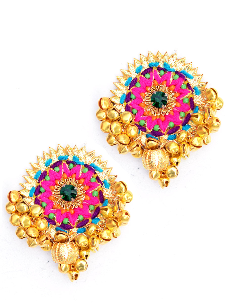 Kashvi Gota Earrings, a gorgeous, unique gota earrings with mirror detailing from our designer collection of gota earrings for women online.