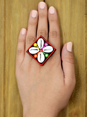 Dandiya Raas Ring for girls, a beautiful multi-coloured hand embroidered ring from our latest designer collection.