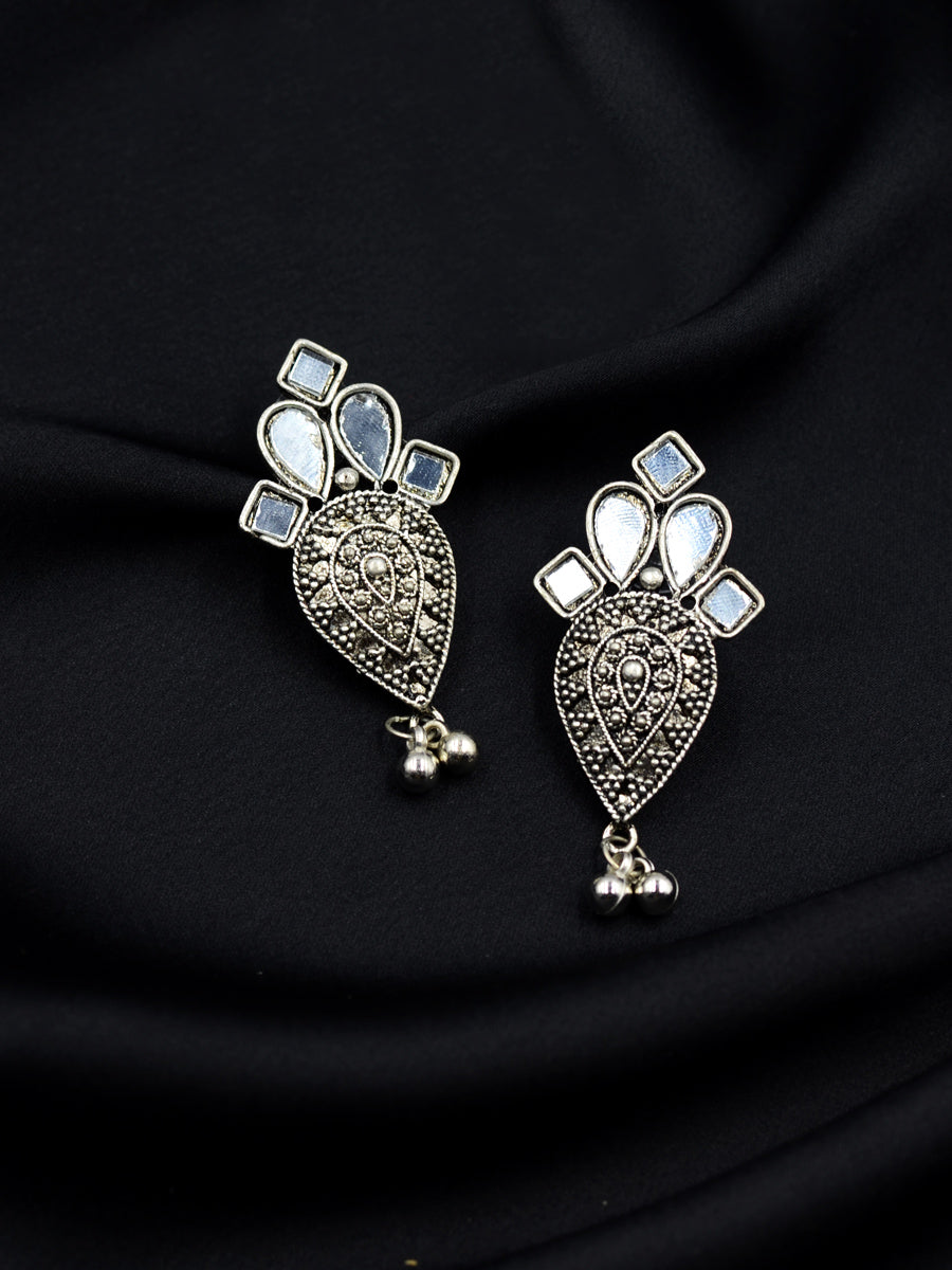 Bhairavi Silver Ghungoo Mirror Earrings