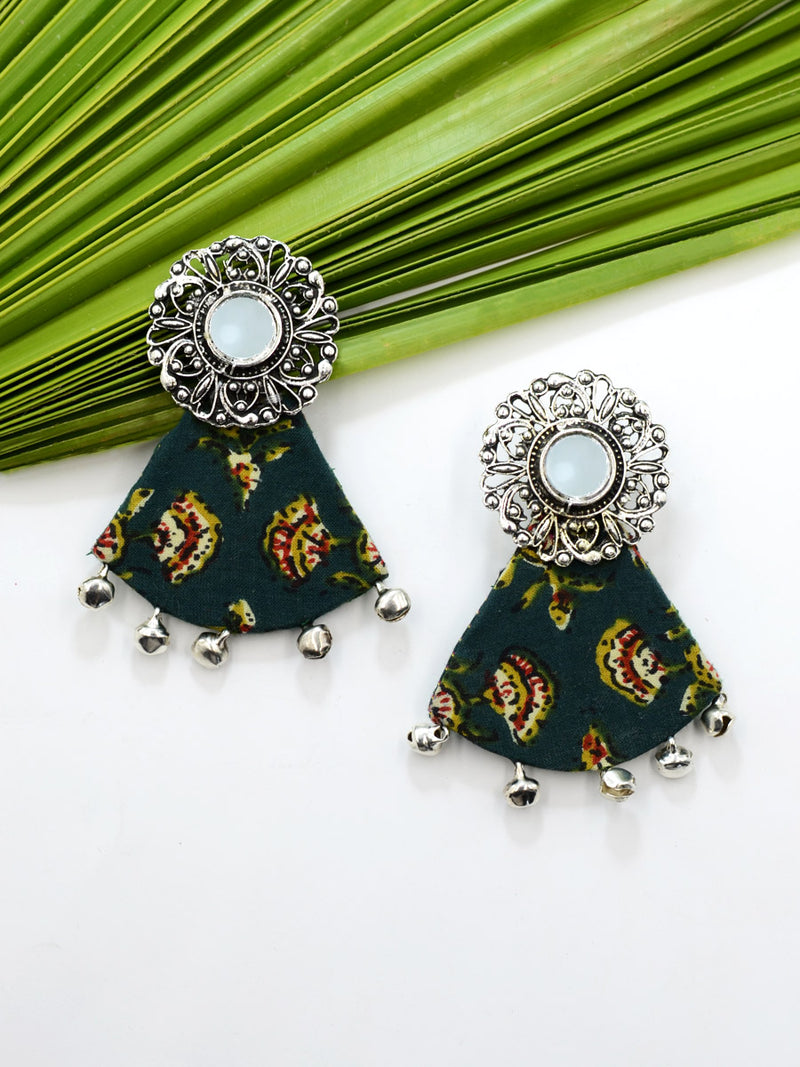 Azma Ghungroo Earrings, a beautiful silver ethnic jhumka detailed with hand embroidered mirror rings from our designer collection of earrings for women online.
