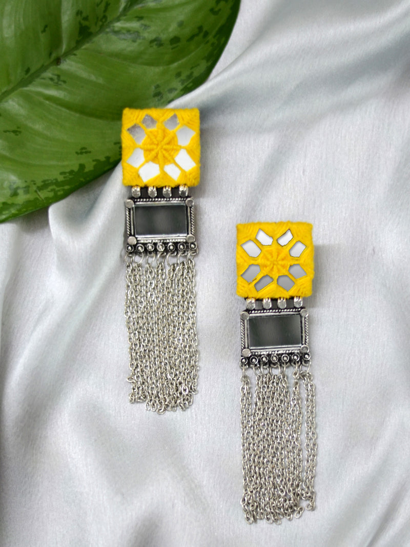 Nazia Hand-embroidered Mirror Earrings