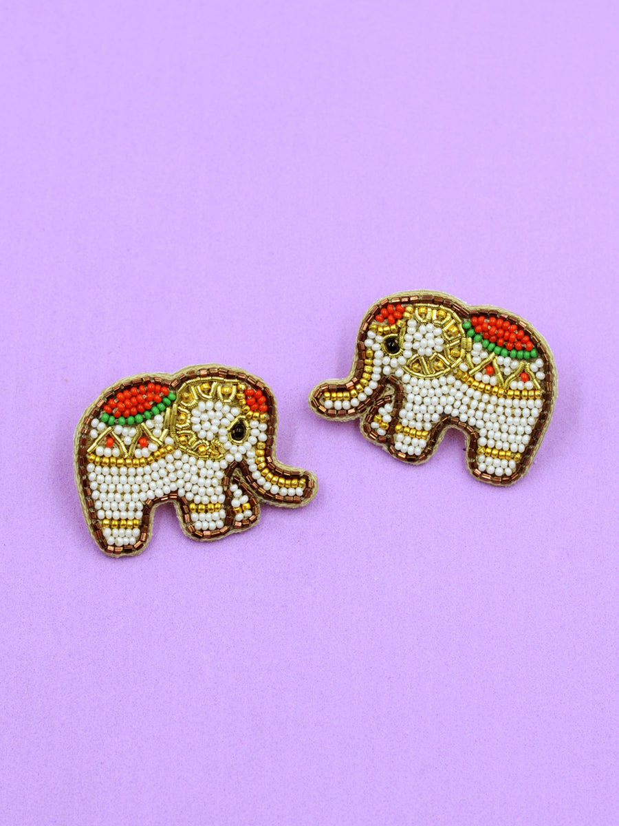 Elephant Embroidered Bead Earrings