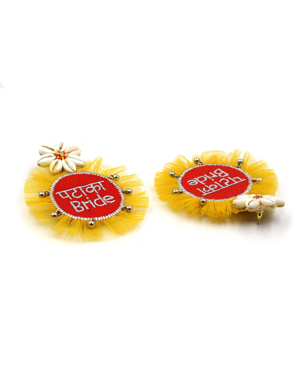 Pataka Bride Embroidered Shell Earrings